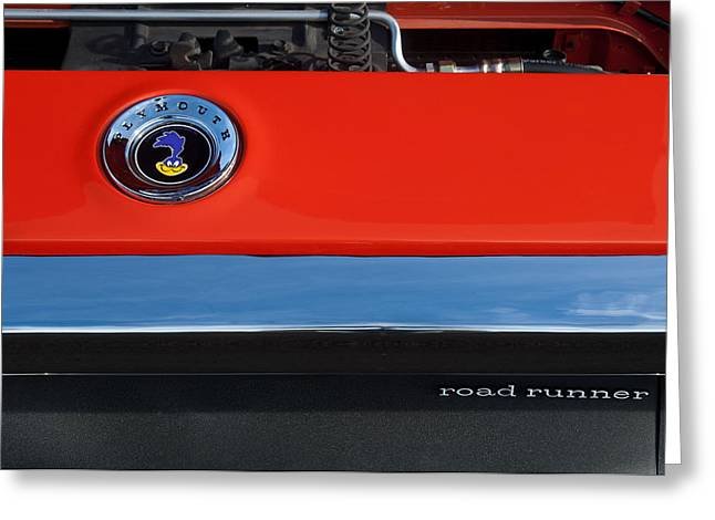 1972 Plymouth Road Runner Hood Emblem Greeting Card by Jill Reger