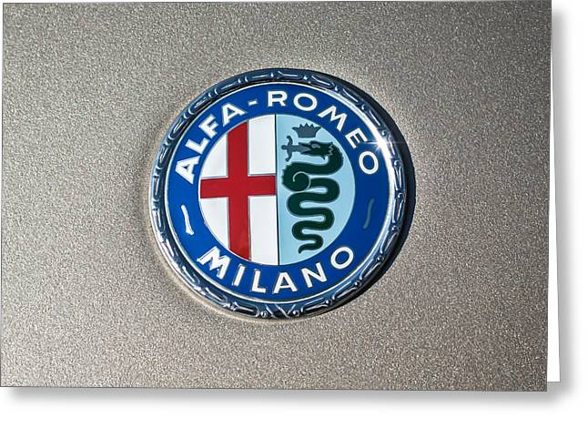 Famous Photographers Greeting Cards - 1973 Alfa Romeo GTV Emblem -0226c55 Greeting Card by Jill Reger