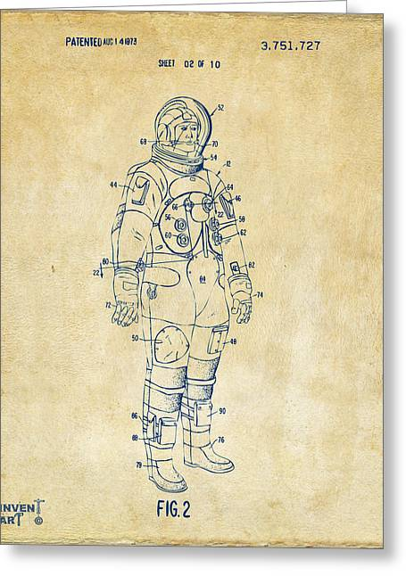 Office Space Greeting Cards - 1973 Astronaut Space Suit Patent Artwork - Vintage Greeting Card by Nikki Marie Smith