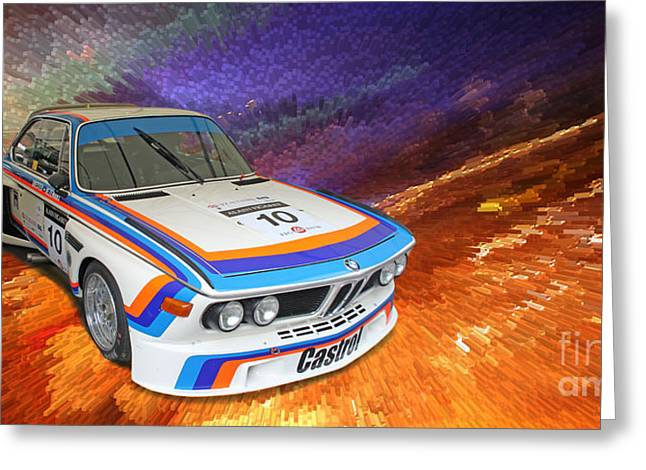 1973 Bmw 3.0 Csl Batmobile Touring Car Greeting Card by Roger Lighterness