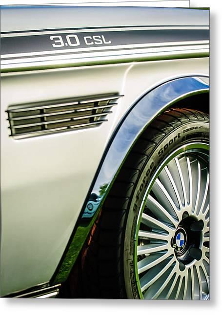 Bmw Emblem Greeting Cards - 1973 BMW 3.0 CSL Side Emblem - Wheel Emblem -1294c Greeting Card by Jill Reger