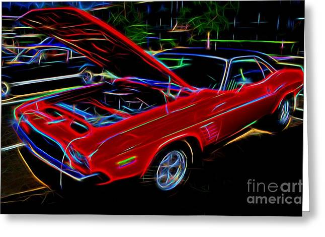 Valuable Photographs Greeting Cards - 1973 Dodge Challenger - Classic Muscle Car  Greeting Card by Gary Whitton