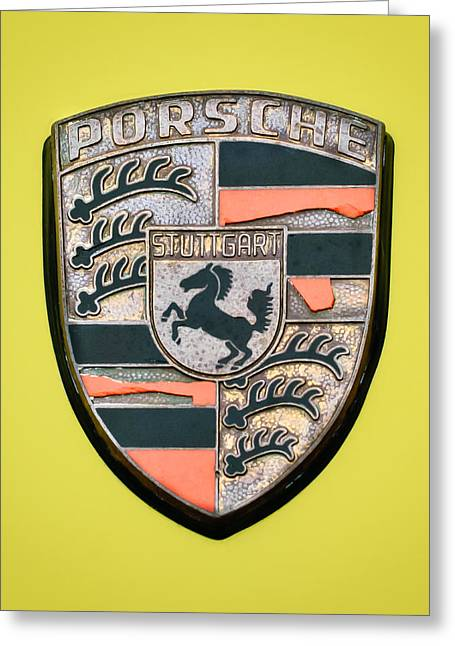 Famous Photographers Greeting Cards - 1973 Porsche 911 Carrera Rs Lightweigh Emblem - 1 Greeting Card by Jill Reger