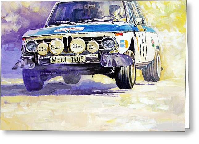 Portugal Greeting Cards - 1973 Rallye of Portugal BMW 2002 Warmbold Davenport Greeting Card by Yuriy Shevchuk