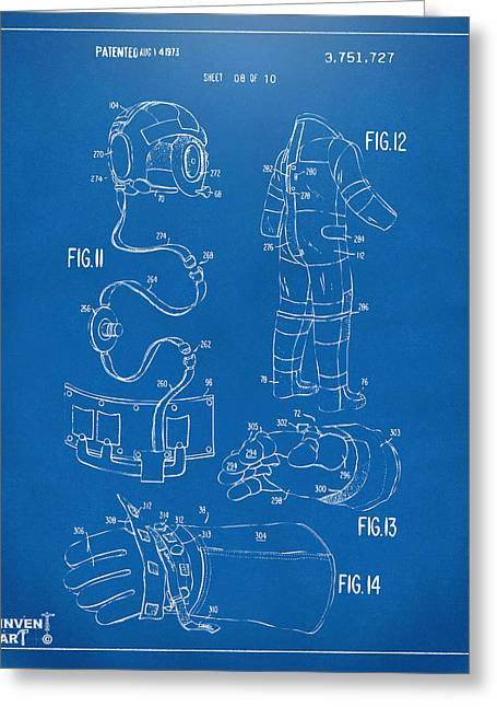 Office Space Greeting Cards - 1973 Space Suit Elements Patent Artwork - Blueprint Greeting Card by Nikki Marie Smith