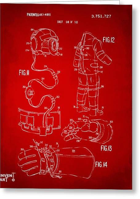 Office Space Greeting Cards - 1973 Space Suit Elements Patent Artwork - Red Greeting Card by Nikki Marie Smith