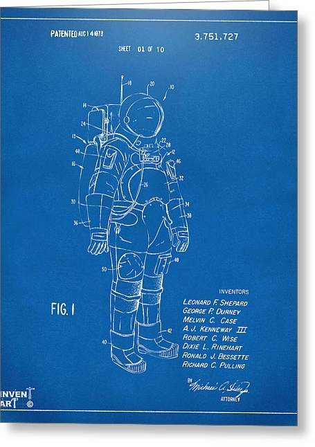 Office Space Greeting Cards - 1973 Space Suit Patent Inventors Artwork - Blueprint Greeting Card by Nikki Marie Smith
