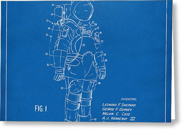 1973 Space Suit Patent Inventors Artwork - Blueprint Greeting Card by Nikki Marie Smith