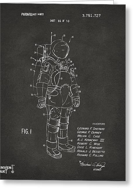 Office Space Greeting Cards - 1973 Space Suit Patent Inventors Artwork - Gray Greeting Card by Nikki Marie Smith