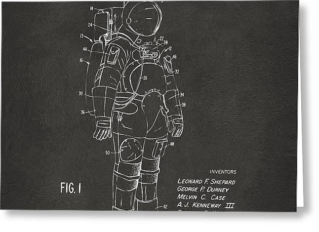 1973 Space Suit Patent Inventors Artwork - Gray Greeting Card by Nikki Marie Smith