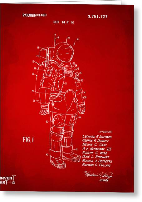 Office Space Greeting Cards - 1973 Space Suit Patent Inventors Artwork - Red Greeting Card by Nikki Marie Smith