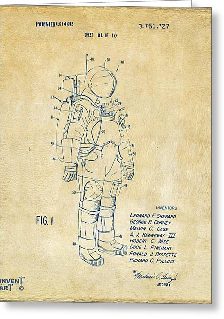 Office Space Greeting Cards - 1973 Space Suit Patent Inventors Artwork - Vintage Greeting Card by Nikki Marie Smith