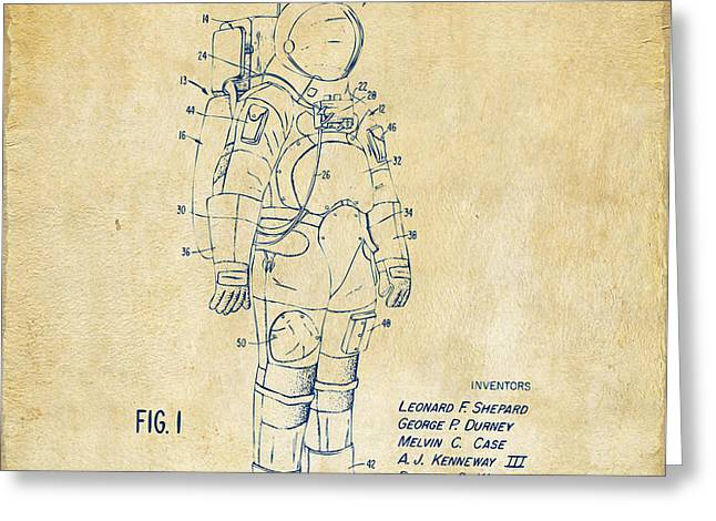 1973 Space Suit Patent Inventors Artwork - Vintage Greeting Card by Nikki Marie Smith