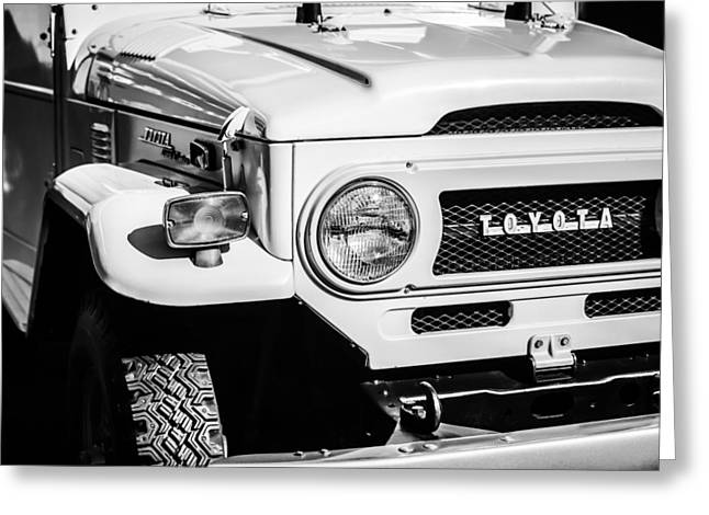 Cruiser Greeting Cards - 1973 Toyota FJ40 Land Cruiser Grille Emblem -1918bw Greeting Card by Jill Reger