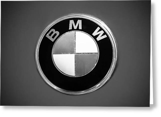 Bmw 2002 Greeting Cards - 1974 BMW 2002 Emblem -0889bw Greeting Card by Jill Reger