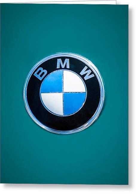 Bmw Emblem Greeting Cards - 1974 BMW 2002 Emblem -0889dcc Greeting Card by Jill Reger
