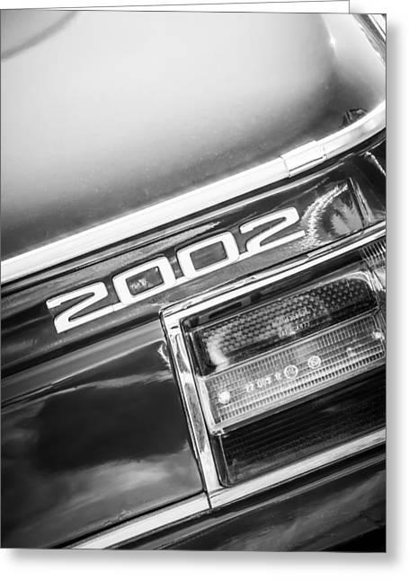 Bmw 2002 Greeting Cards - 1974 BMW 2002 Taillight Emblem -2358bw Greeting Card by Jill Reger