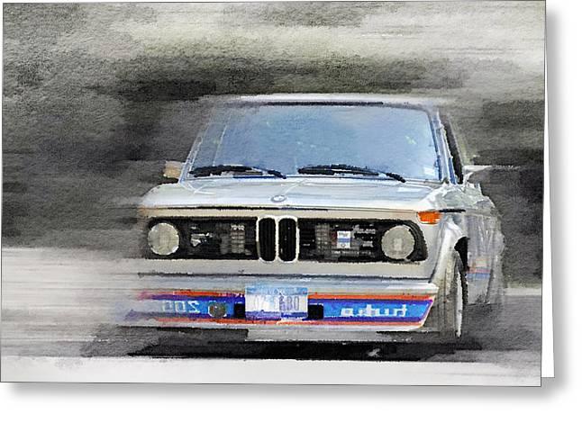 Bmw Racing Car Greeting Cards - 1974 BMW 2002 Turbo Watercolor Greeting Card by Naxart Studio