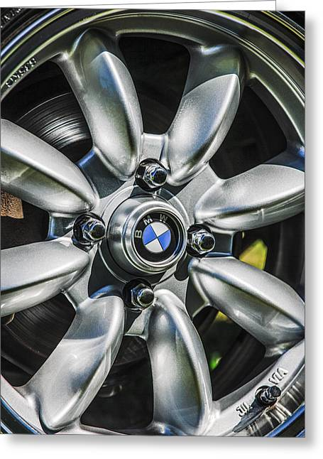 Famous Photographer Greeting Cards - 1974 BMW 2002 Wheel Emblem -2416c Greeting Card by Jill Reger
