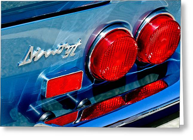 Dino Greeting Cards - 1974 Ferrari Dino Targa GTS Taillight Emblem Greeting Card by Jill Reger