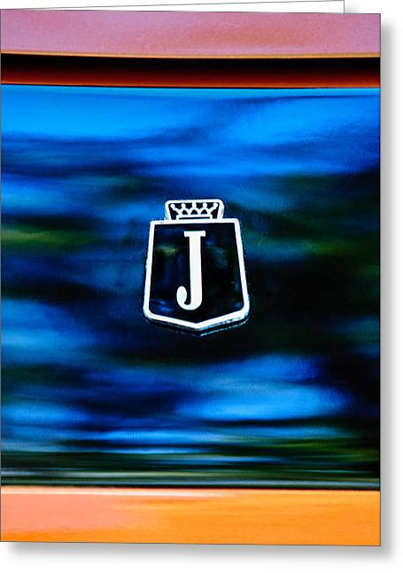 Jensen Greeting Cards - 1974 Jensen Interceptor Emblem Greeting Card by Jill Reger