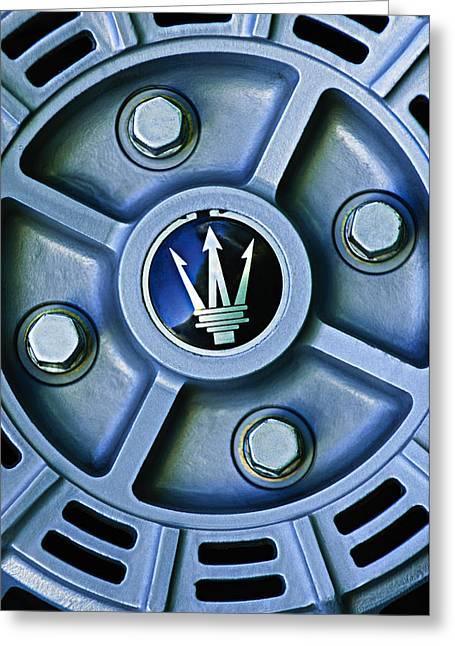 Wheels Greeting Cards - 1974 Maserati Merak Wheel Emblem Greeting Card by Jill Reger