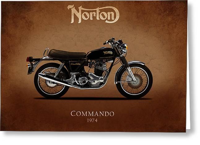 Commandos Greeting Cards - 1974 Norton Commando Greeting Card by Mark Rogan