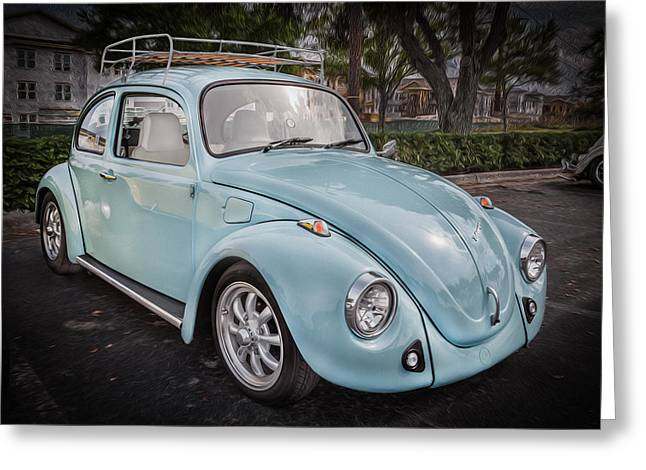 Beetle Car Greeting Cards - 1974 Volkswagen Beetle VW Bug Greeting Card by Rich Franco