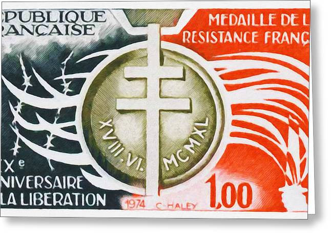 Liberation Greeting Cards - 1974 Xxx Anniversary Of The Liberation Medal Of The French Resistance Greeting Card by Lanjee Chee