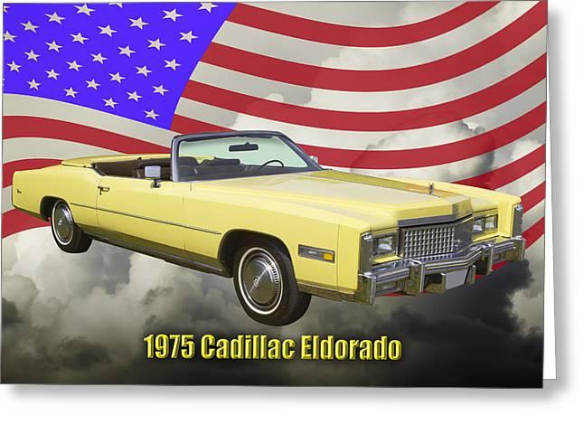 Blue Classic Car Greeting Cards - 1975 Cadillac Eldorado Convertible And US Flag Greeting Card by Keith Webber Jr