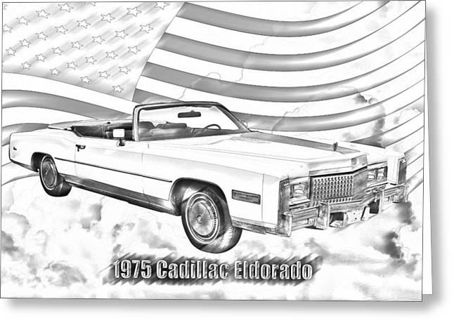 Wealth Digital Art Greeting Cards - 1975 Cadillac Eldorado Convertible Illustration Greeting Card by Keith Webber Jr