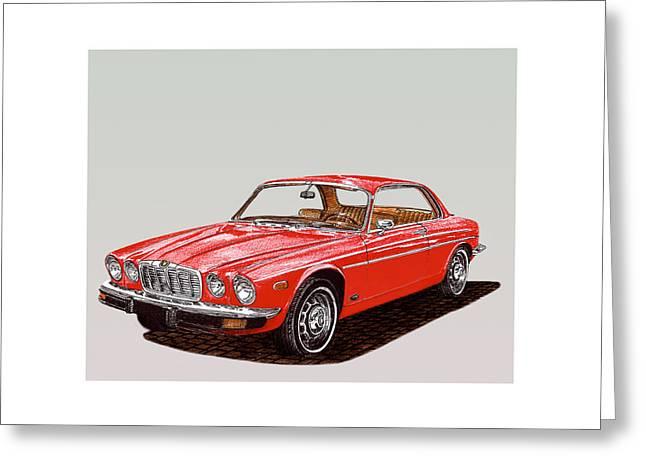 Sized Drawings Greeting Cards - 1975 Jaguar XJ 6 C Greeting Card by Jack Pumphrey