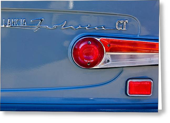 Taillights Greeting Cards - 1975 Lancia Fulvia 1.3S GT Berlina Taillight Emblem Greeting Card by Jill Reger