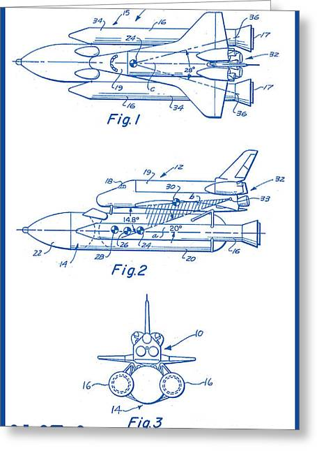Aviation Art Framed Prints Greeting Cards - 1975 NASA Space Shuttle Patent Art 2 Greeting Card by Nishanth Gopinathan