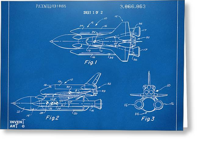 Nasa Space Shuttle Greeting Cards - 1975 Space Shuttle Patent - Blueprint Greeting Card by Nikki Marie Smith