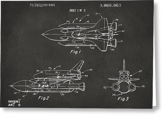 Nasa Space Shuttle Greeting Cards - 1975 Space Shuttle Patent - Gray Greeting Card by Nikki Marie Smith