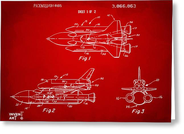 Nasa Space Shuttle Greeting Cards - 1975 Space Shuttle Patent - Red Greeting Card by Nikki Marie Smith