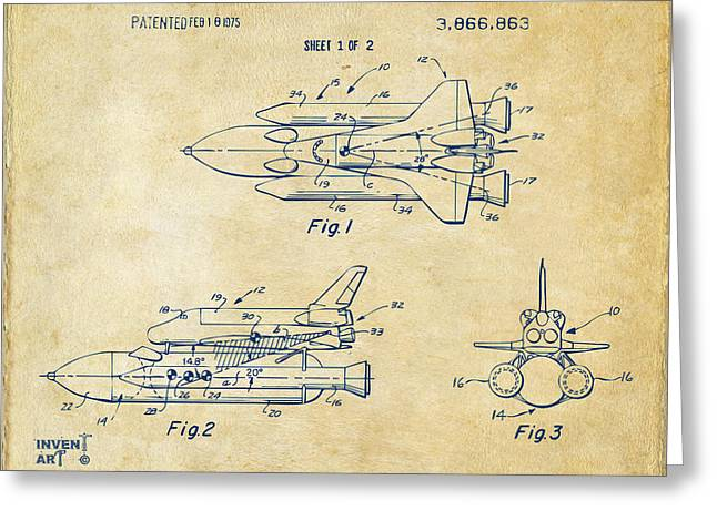 Nasa Space Shuttle Greeting Cards - 1975 Space Shuttle Patent - Vintage Greeting Card by Nikki Marie Smith