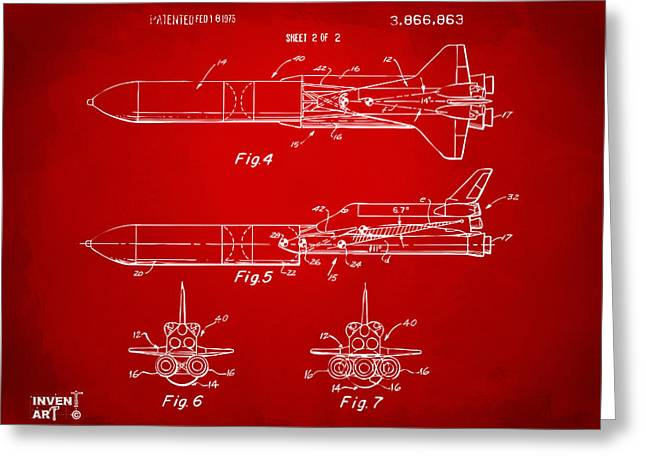 1975 Space Vehicle Patent - Red Greeting Card by Nikki Marie Smith