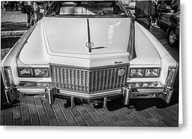 Caddy Greeting Cards - 1976 Cadillac Eldorado BW Greeting Card by Rich Franco