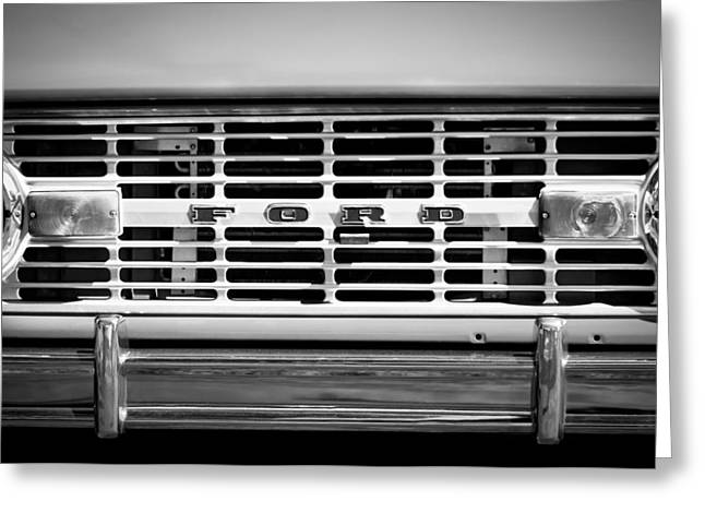 Broncos Greeting Cards - 1976 Ford Bronco Grille Emblem -3275bw Greeting Card by Jill Reger