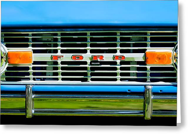 Broncos Greeting Cards - 1976 Ford Bronco Grille Emblem -3275c Greeting Card by Jill Reger
