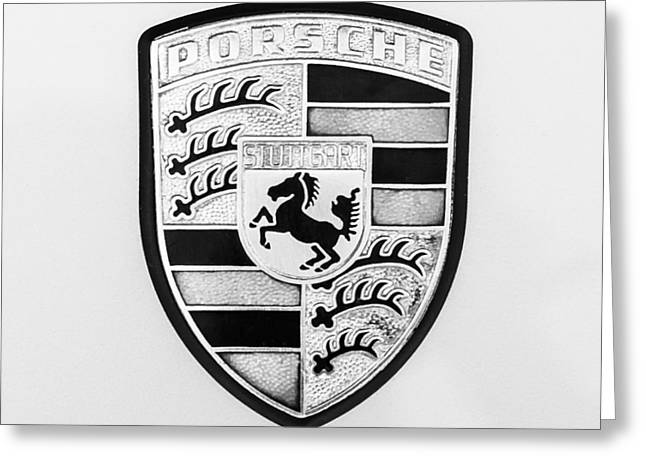 Black 7 White Greeting Cards - 1976 Porsche 911 Carrera 2.7 Emblem - 1082bw55 Greeting Card by Jill Reger