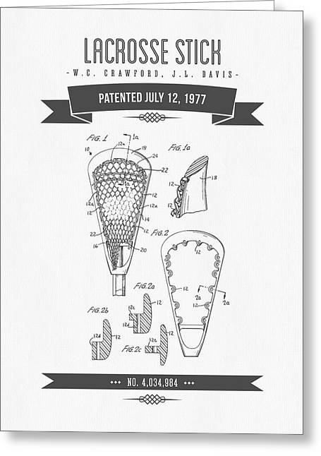 League Greeting Cards - 1977 Lacross Stick Patent Drawing - Retro Gray Greeting Card by Aged Pixel