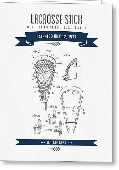 Technical Mixed Media Greeting Cards - 1977 Lacross Stick Patent Drawing - Retro Navy Blue Greeting Card by Aged Pixel