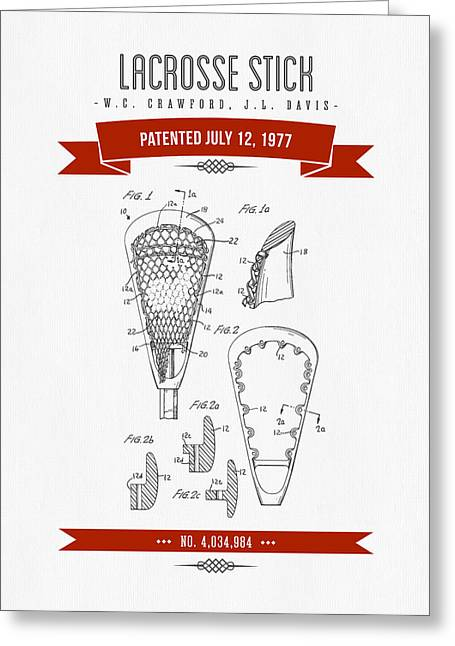 League Greeting Cards - 1977 Lacross Stick Patent Drawing - Retro Red Greeting Card by Aged Pixel
