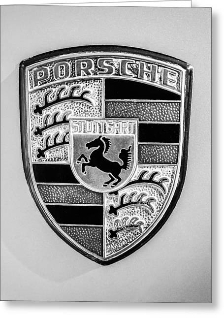 1977 Greeting Cards - 1977 Porsche 911s Coupe Emblem -0156bw45 Greeting Card by Jill Reger