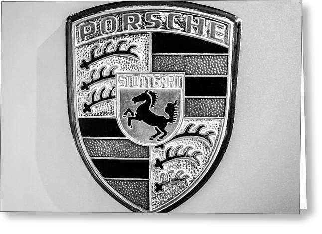 1977 Greeting Cards - 1977 Porsche 911s Coupe Emblem - 0156bw55 Greeting Card by Jill Reger