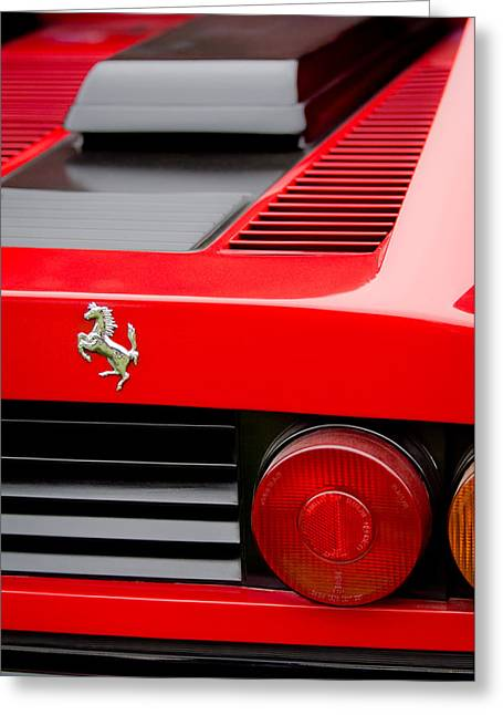 Italian Marque Greeting Cards - 1979 Ferrari Taillight Emblem -0378c Greeting Card by Jill Reger