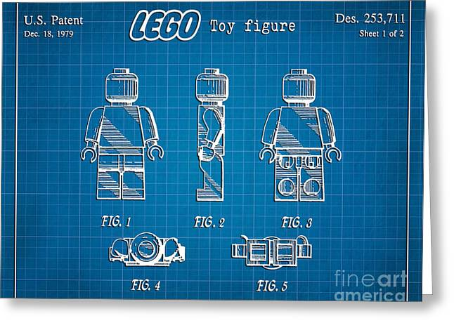 Lego Greeting Cards - 1979 Lego Minifigure Toy Patent Art 1 Greeting Card by Nishanth Gopinathan